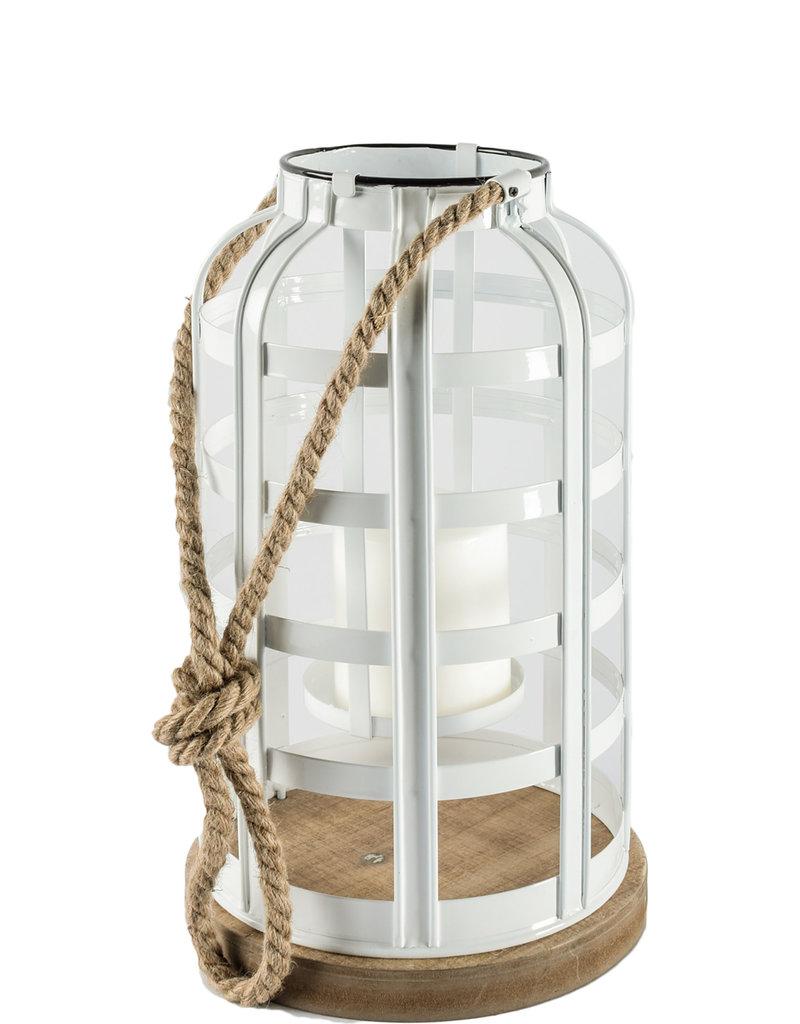 "Lanterne métal blanc et base bois 8"" x 14"""