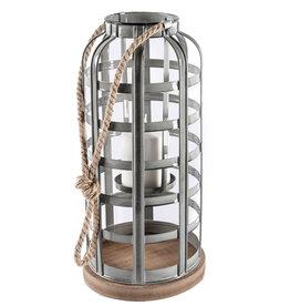 """Lanterne cage métal et base bois 8"""" x 17"""""""