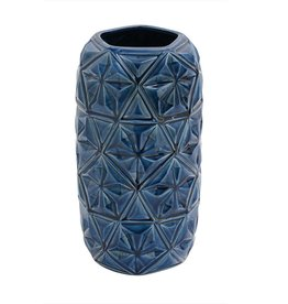 "Vase céramique bleu étoilé 14""H"