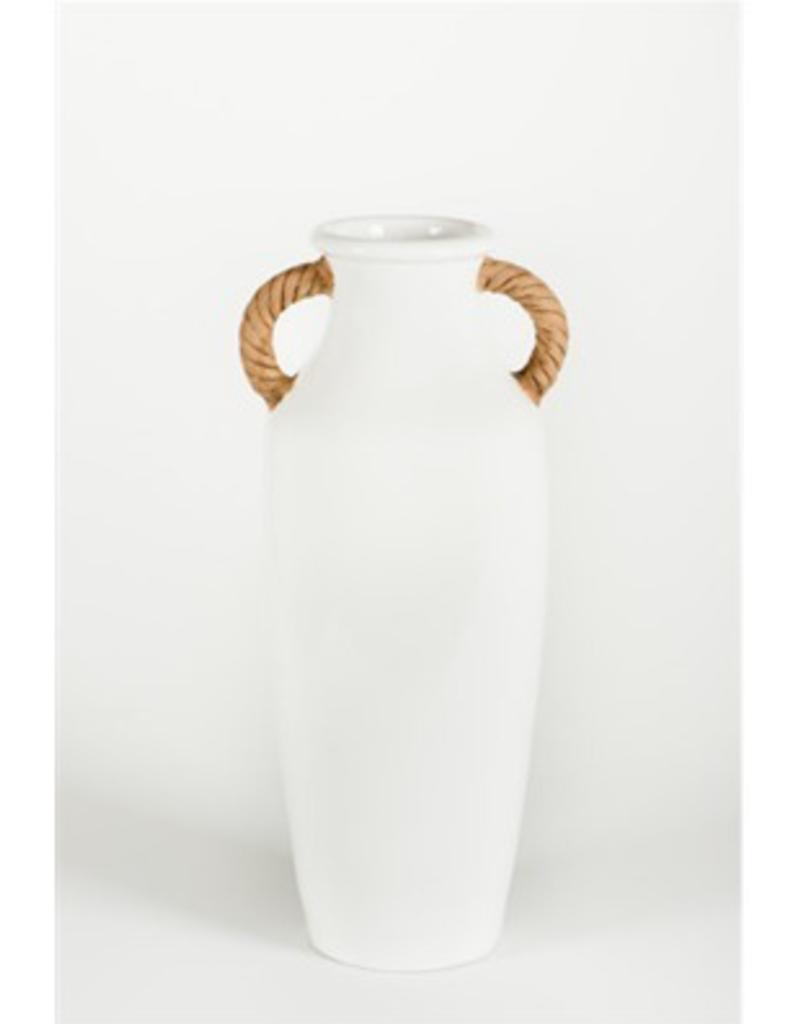 "Vase blanc poignée corde 11"" x 25"""