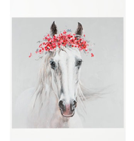 "Toile cheval blanc couronne fleurs 40"" x 40"""