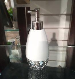 Pompe à savon Bali blanche et argent