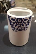 Porte-brosses à dents porcelaine Batik blanc et marine