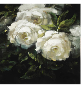"Toile fleurs blanches glacé 16""x 16"""