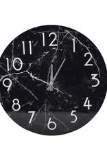 "Horloge effet marbre noir 15"""