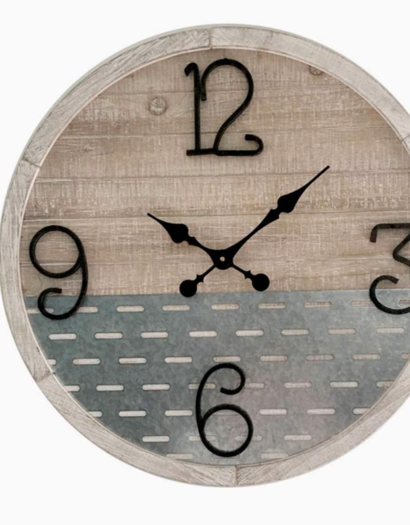"""Horloge bois et métal Design. 16"""""""
