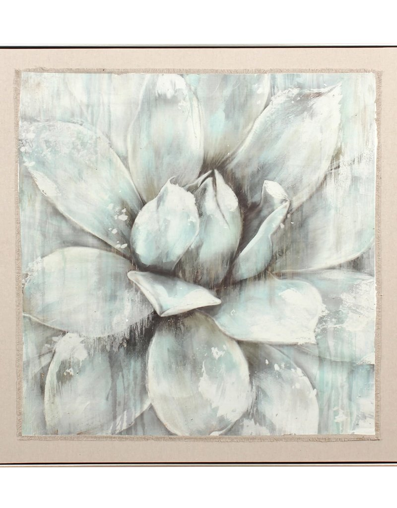 "Toile grosse fleur turquoise 41"" x 41"""