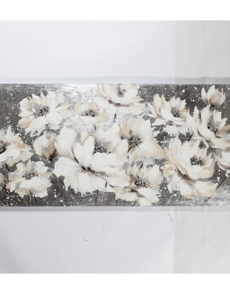 """Toile petites fleurs blanches sur fond gris 27"""" x 59"""""""