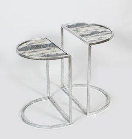 """Table demi-lune marbrée gris brun grande 12"""" x 20"""" x 24""""H"""