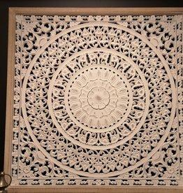 """Décoration murale en bois mandala blanc 33"""" x 33"""""""