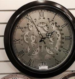 "Horloge noire et argent engrenages 18"""