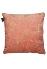 """Coussin Hibiscus corail et or 17"""" x 17"""""""