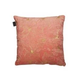 "Brunelli Coussin Hibiscus corail et or 17"" x 17"""