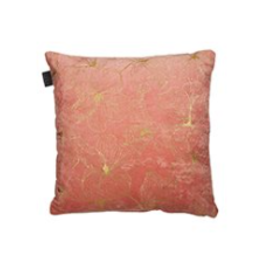 "Coussin Hibiscus corail et or 17"" x 17"""