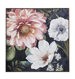"Toile fleurs rose & blanc 39"" x 39"""