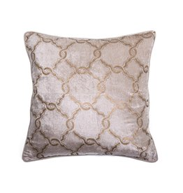 """Coussin Velours beige/or 20"""" x 20"""""""