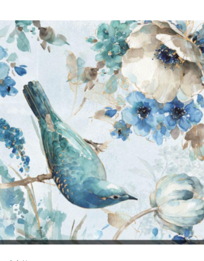 "Toile oiseau et fleurs fond blanc B 20"" x 20"""