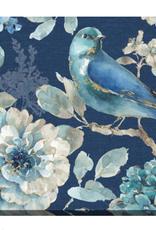 """Toile oiseau et fleurs fond bleu A 20"""" x 20"""""""