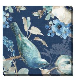 """Toile oiseau et fleurs fond bleu B 20"""" x 20"""""""