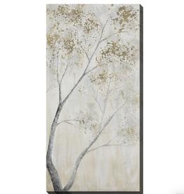 """Toile arbre gris et doré B 24"""" x 48"""""""