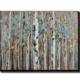 "Toile bouleaux turquoise et or 36"" x 48"""