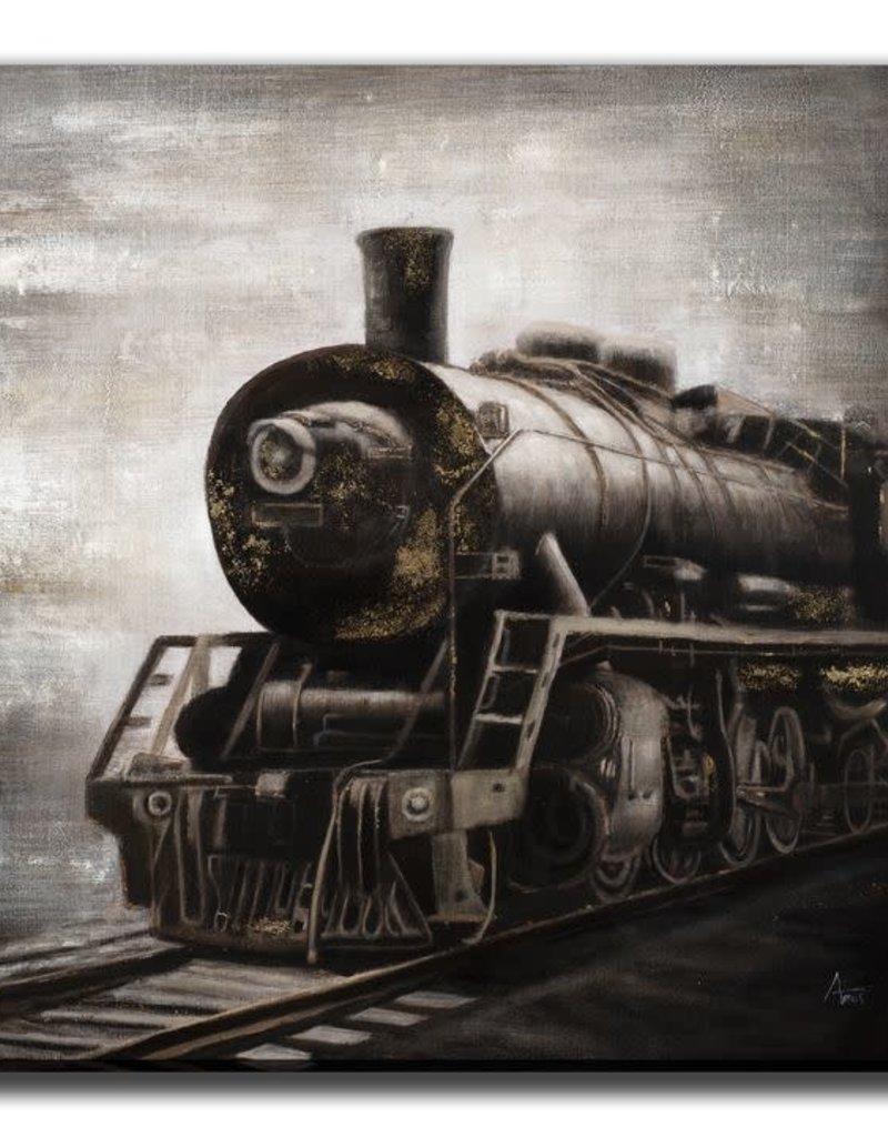 """Toile locomotive noire et dorée 40"""" x 40"""""""