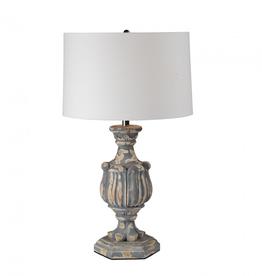 """Lampe fini antique bois et gris 16"""" x 27"""""""