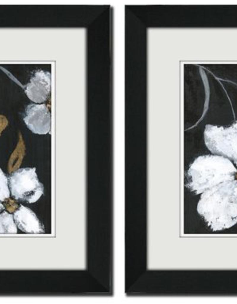 """Toile fleurs fond noir 1 & 2  15""""x15"""" ensemble de 2"""