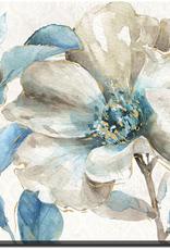 "Toile fleurs turquoise IV 18""x18"""