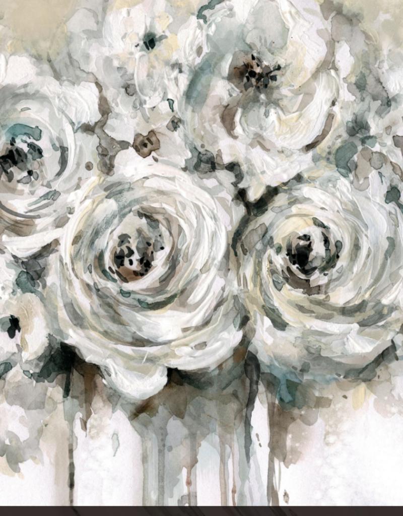 """Toile roses vertes       24"""" x24"""""""