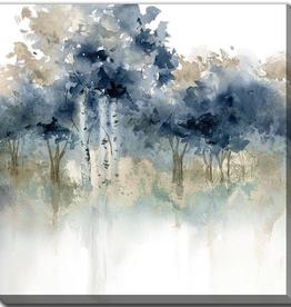 """toile arbres bleus I.  18""""x18"""""""