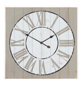 """Horloge de bois peint blanc                       28""""x28"""""""