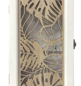 Boîte à clé en bois blanc motif feuillage