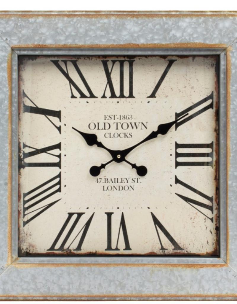 "Horloge carrée OLD TOWN métal Silver 24"" x 24"""