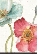 Toile fleurs rose et turquoise II 24X24