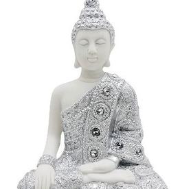 """Bouddha blanc et argent 5.5"""""""