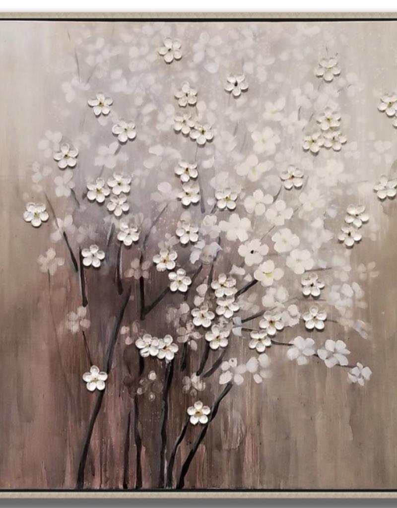"""Toile avec fleurs blanches 40""""x40"""""""