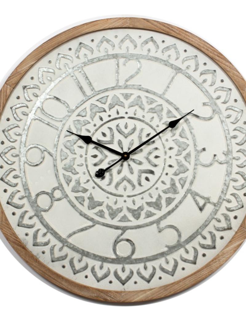 """Horloge bois et métal blanc 30"""""""