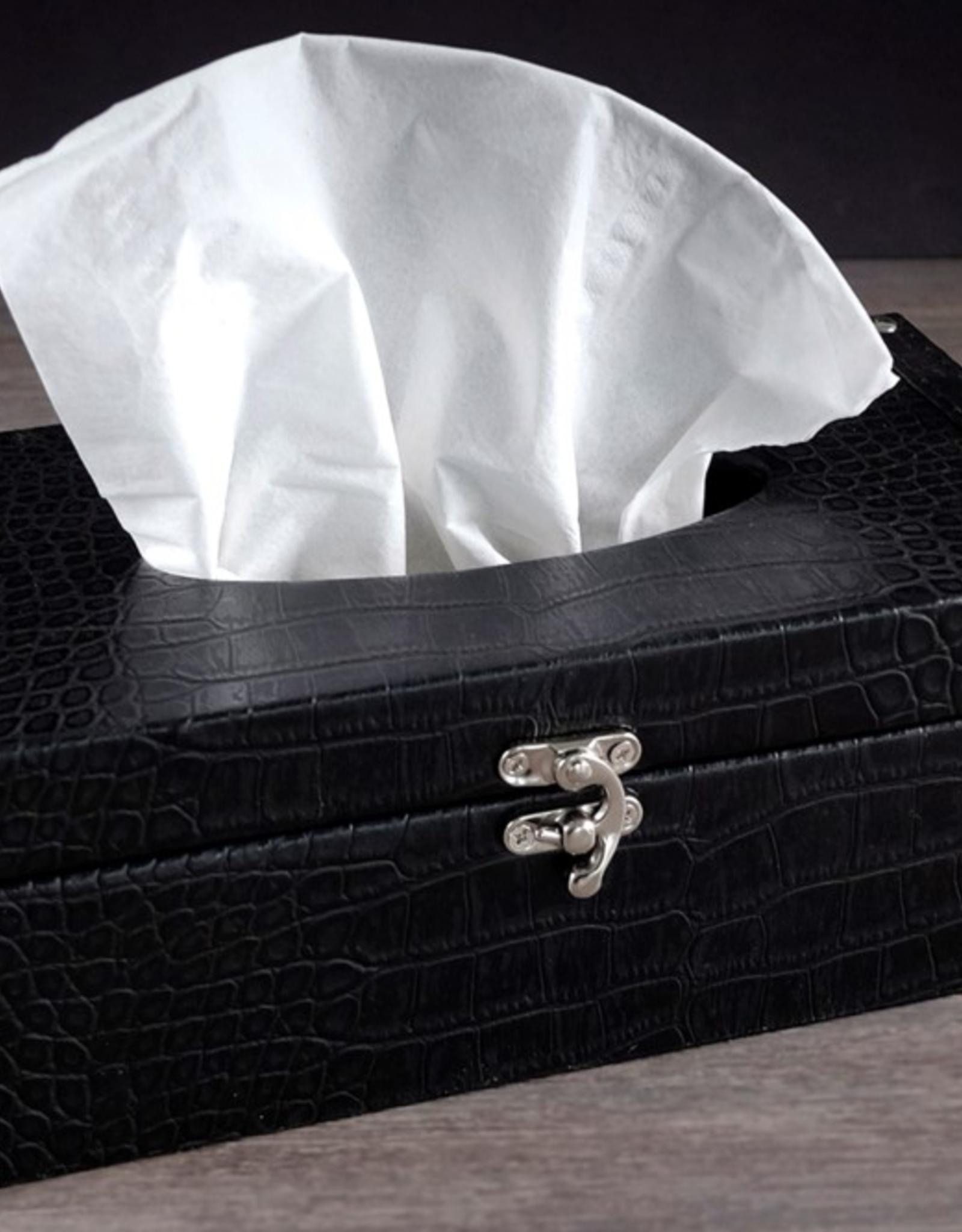 Boite mouchoir faux cuir noir