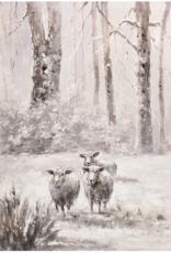 """Toile Moutons dans la neige        36""""x47"""""""