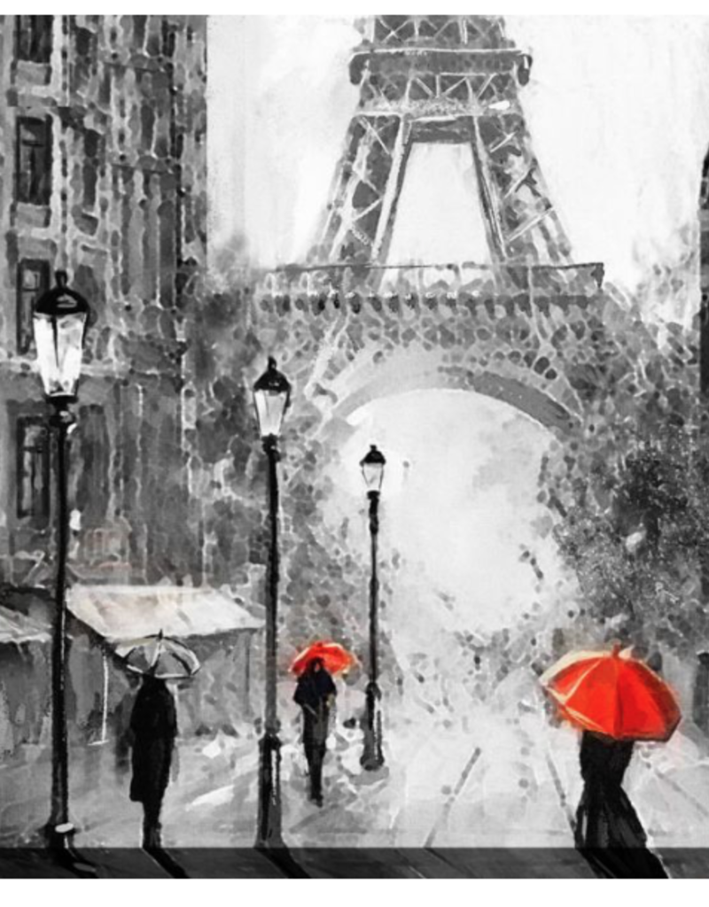 """Sous la Pluie à Paris.     38""""x60"""""""