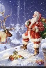 """Toile DEL Père Noël sur le toit 30 """" X 30"""""""