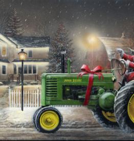 """Toile DEL Père Noël sur tracteur 24"""" X 36"""""""
