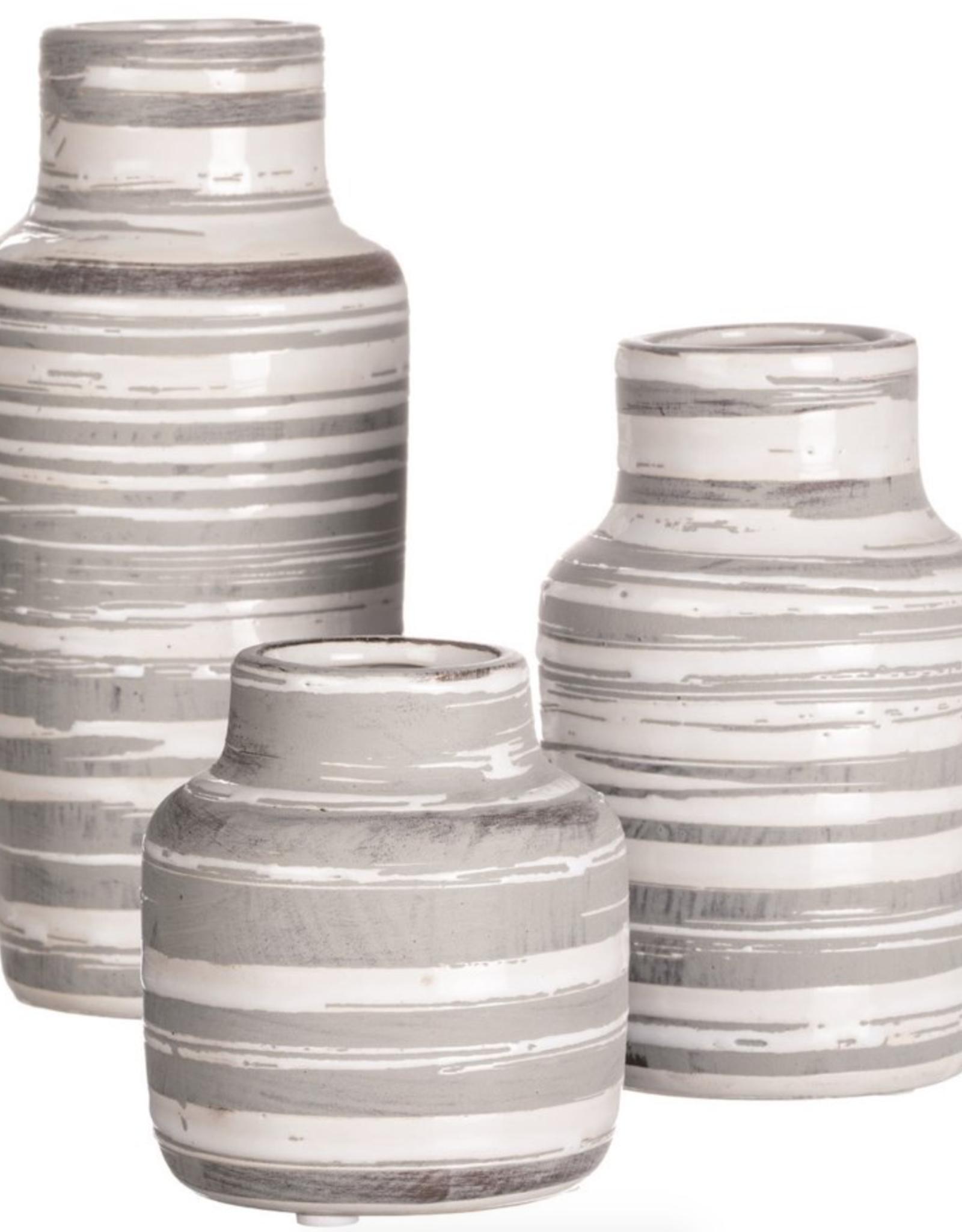 """Vase rayé gris/blanc céramique 5"""" B"""