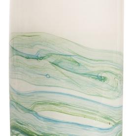 """Vase en verre blanc /turquise 8"""" h"""