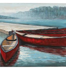 """Peinture de 5 bateaux rouges 60"""" x 30"""""""