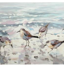 """Toile oiseaux à la plage 47"""" x 24"""""""