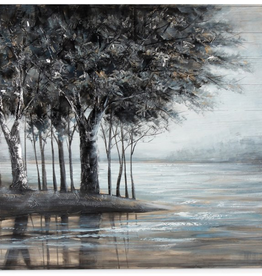 """Peinture sur bois arbres sur lac en paix  48"""" x  38"""""""