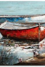 """Peinture sur bois Bateau rouge et bleu 36"""" X 48"""""""