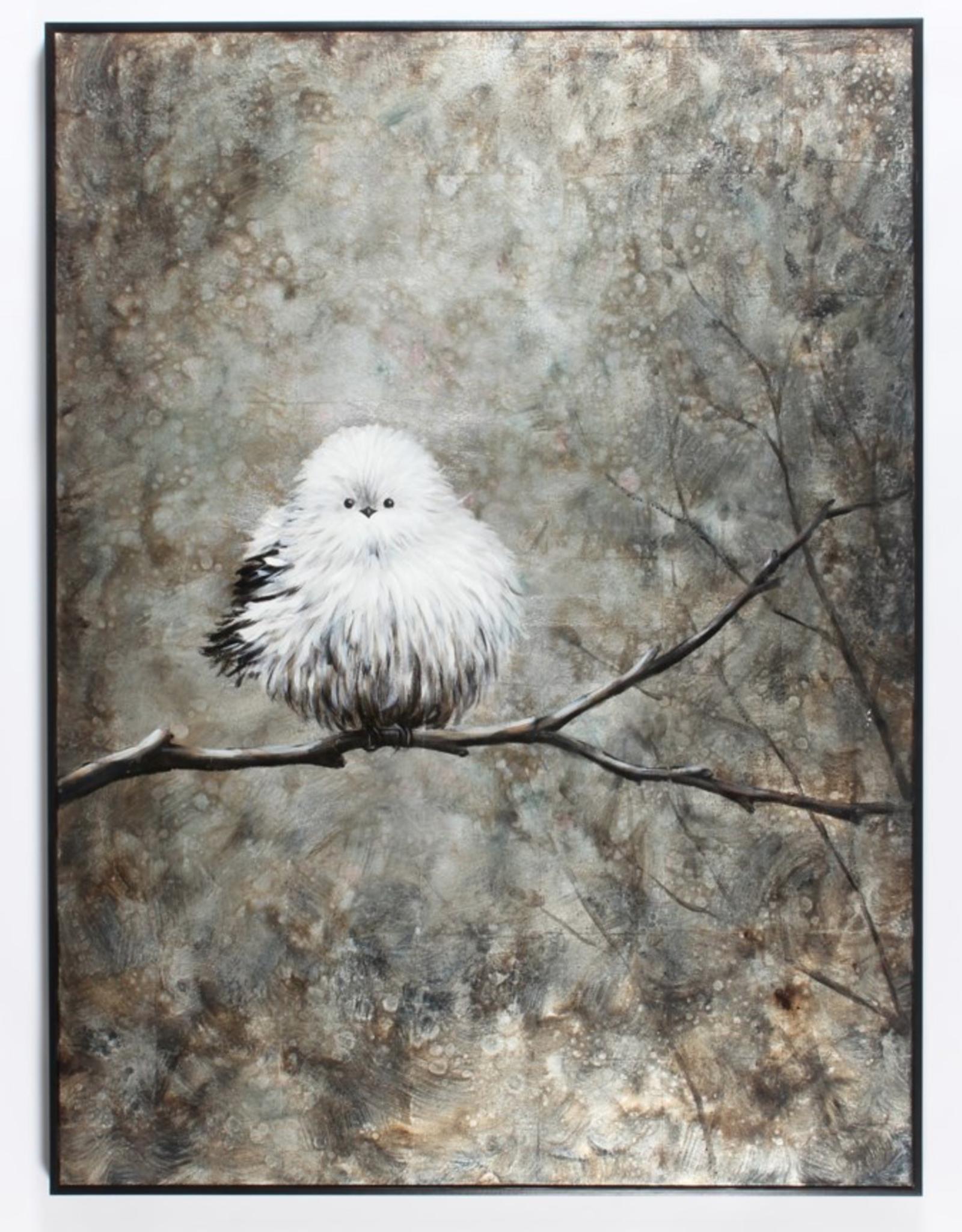"""Toile oiseau blanc dans la forêt 36"""" x 48"""""""
